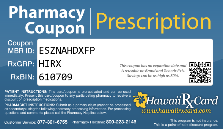Hawaii Rx Card - Free Prescription Drug Coupon Card